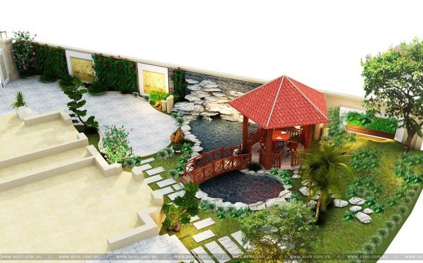 Thiết kế Hồ cá Koi, Cảnh quan sân vườn - Vincom Long Biên, Hà Nội