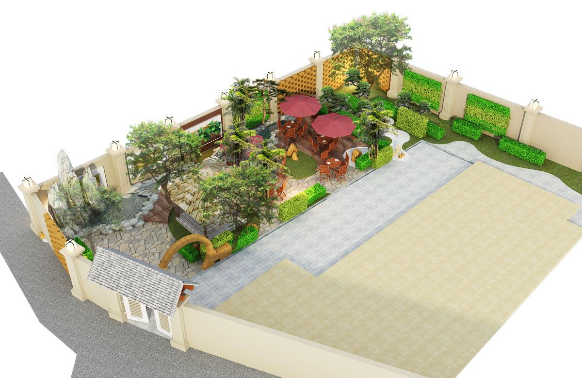 Thiết kế cảnh quan sân vườn quán cafe vườn chim - Vincom Long Biên